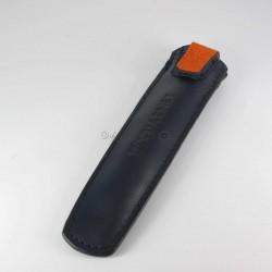 Grand Fourreau Cuir Vuarnet® à fermeture Bleu/Orange (1 Stylo)